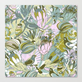 Tropical paradise | Grayish Turquoise Canvas Print