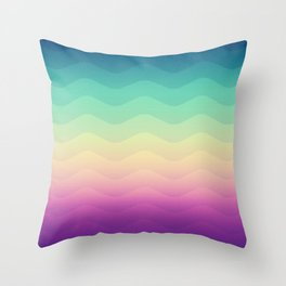 Abstract Geometric Rainbow Waves Pattern (Multi Color) Throw Pillow