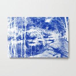 Looking in the water mirror-blue Metal Print