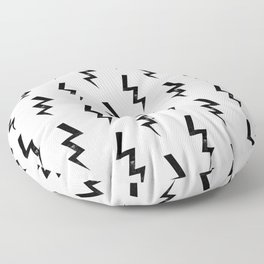 Bolts lightning bolt pattern black and white minimal cute patterned gifts Floor Pillow