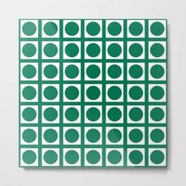 Emerald Elegant Grid Dots Metal Print