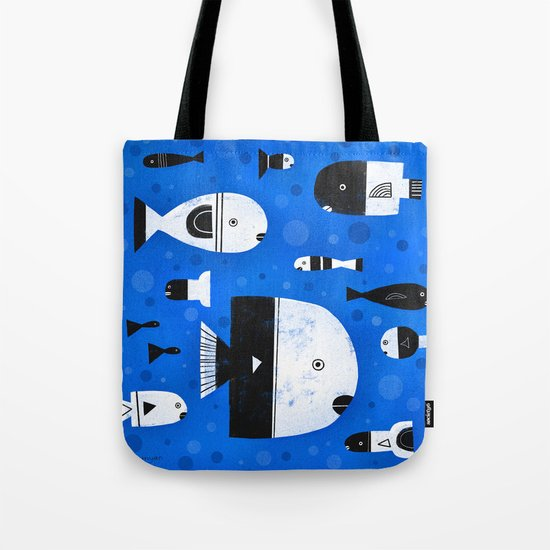 BLACK & WHITE FISHES Tote Bag