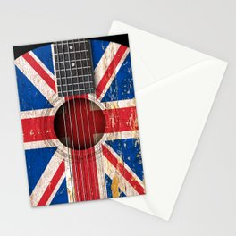Old Vintage Acoustic Guitar with Union Jack British Flag Stationery Cards