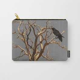 RAVEN ON DEAD TREE GREY ART Carry-All Pouch