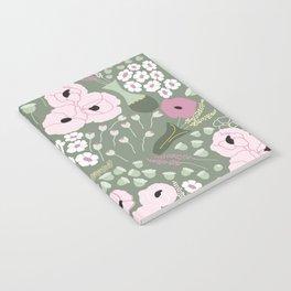 Pink Poppies - kaki floral pattern Notebook