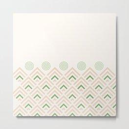 Pink pattern green geometric cute Metal Print