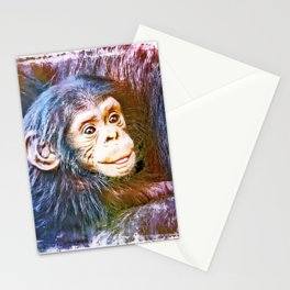 Cute Chimpanzee Baby Stationery Cards
