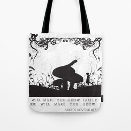 Alice's Adventures In Wonderland Black and White Illustrated Quote Tote Bag