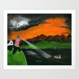 Hilly Haunted Lighthouse Art Print