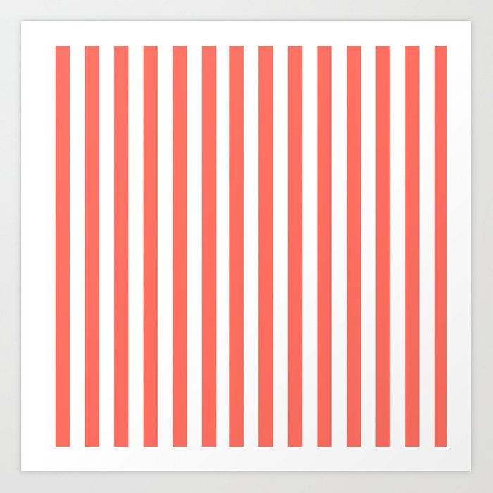LIVING CORAL STRIPES PANTONE COLOR OF THE YEAR 2019 Art Print
