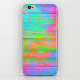 Neon colored abstract geometric triangle design iPhone Skin