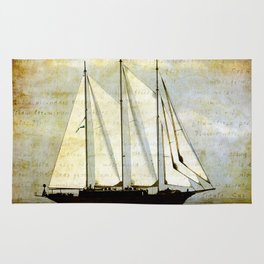 classic old Sailing ship Rug