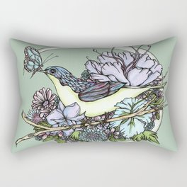 Bird and Butterfly Moon in Green Rectangular Pillow