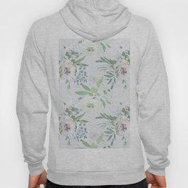 Blush pink white green watercolor modern floral berries pattern Hoody