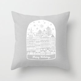 Linocut White Holidays Throw Pillow