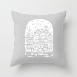 Linocut White Holidays Throw Pillow