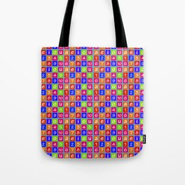 Numbers and Vowels Colorful Pattern Tote Bag