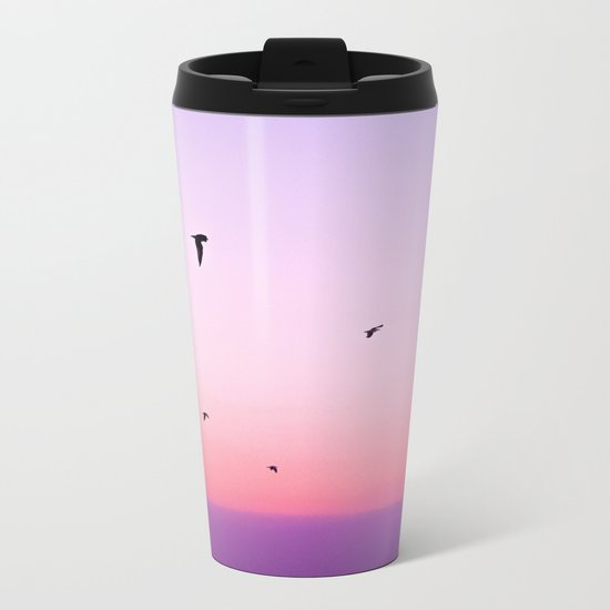 birds in the sky rose Metal Travel Mug