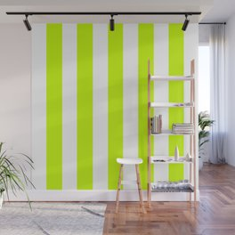 Electric lime green - solid color - white vertical lines pattern Wall Mural