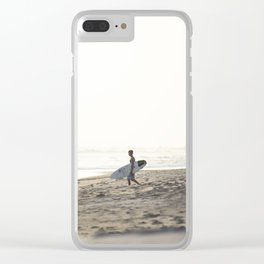 Sunset surf session Clear iPhone Case