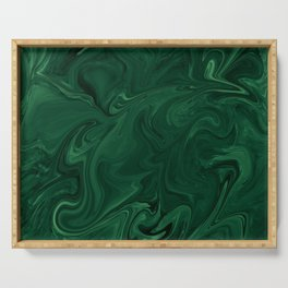 Modern Cotemporary Emerald Green Abstract Serving Tray