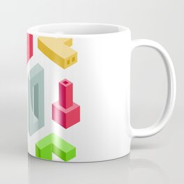 Industrial Art. Set of Abstract 3D Items on transparency area Coffee Mug