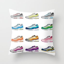 Colorful Sneaker set illustration original pop art graphic print Throw Pillow