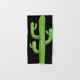 Green Cactus on Black Hand & Bath Towel