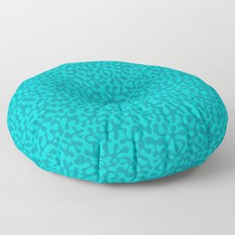 Abstract retro summer teal groovy pattern Floor Pillow