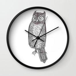 Indignant Screech Owl Wall Clock