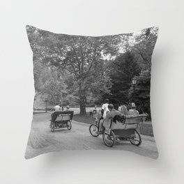 Strolling in Central Park B&W photo Throw Pillow