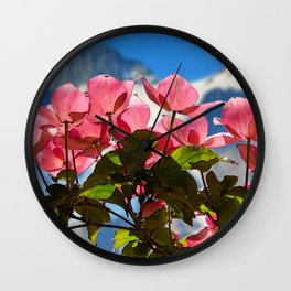 KOREAN DOGWOOD IN THE SUN AND MOUNTAINS Wall Clock