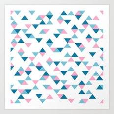 Triangles Blue and Pink Art Print