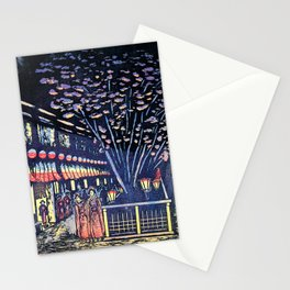 New Yoshiwara Nakano Street, Night Cherry Blossoms - Digital Remastered Edition Stationery Cards