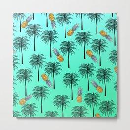 Tropical Teal Yellow Orange Pineapple Black Palm Tree Pattern Metal Print
