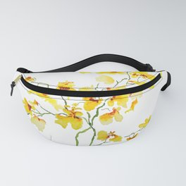 yellow Oncidium Orchid watercolor Fanny Pack