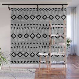 Bohemian Mudcloth Style 2 in Gray and Black Wall Mural