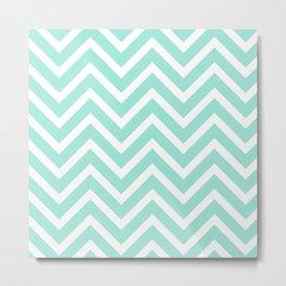 Chevron Stripes : Seafoam Green & White Metal Print