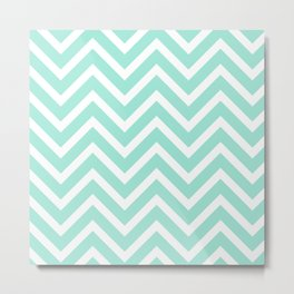 Chevron Stripes : Seafoam Green & White Metal Print