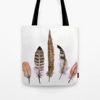 feathers Tote Bags featuring Feathers by emegi