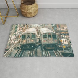 Two El Trains Above Wabash in Chicago Train Subway Elevated Rug