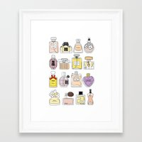 perfume Framed Art Prints featuring Perfume by thedreamingclouds