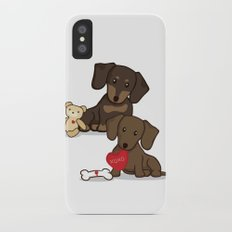 Valentine's Day Love Daschund Illustration Slim Case iPhone X