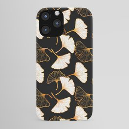 Ginkgo Leaf (Golden Calico) - Black iPhone Case