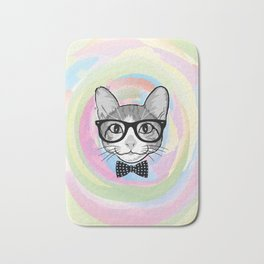 Black White Cat Hipster and the Watercolor Rainbow Circle Bath Mat