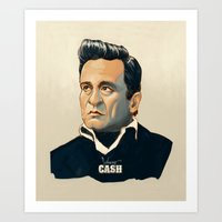 johnny cash Art Prints featuring Johnny Cash by Sean McClintock