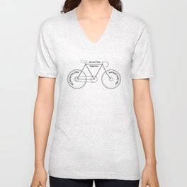 You can't buy happiness buy you can buy a bike :)  Unisex V-Neck