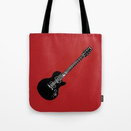 Electric Guitar (Black on Red) Tote Bag