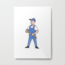 Repairman Holding Spanner Cartoon  Metal Print
