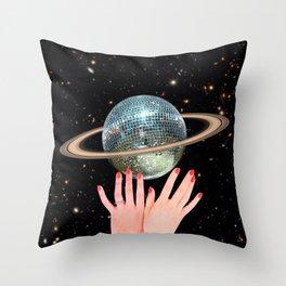 Saturn Disco Throw Pillow